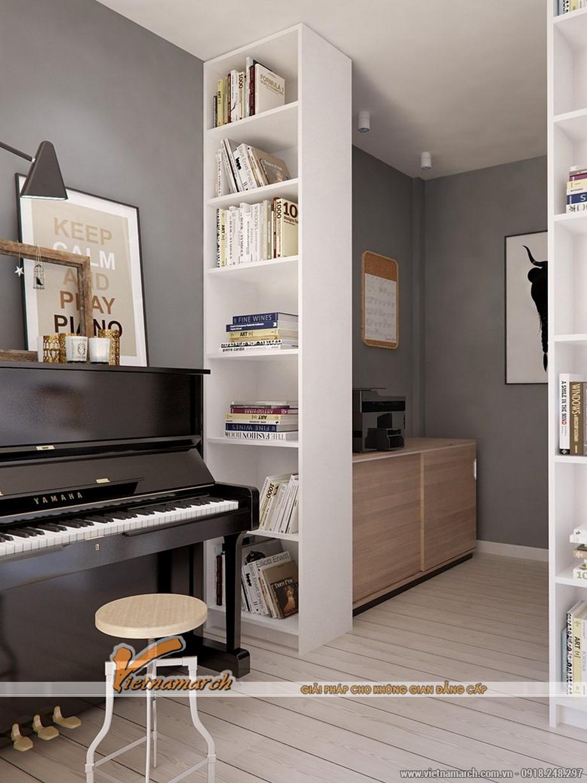 Một phòng làm việc hay sinh hoạt chung của gia đình không rộng nhưng đây là một không gian lý tưởng