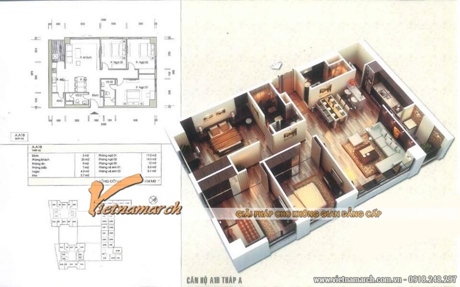 Phương án thiết kế nội thất cho căn hộ A1B tháp A