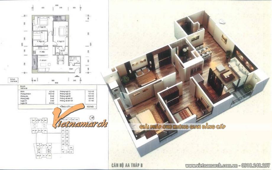 Phương án thiết kế nội thất cho căn hộ AA tháp B.