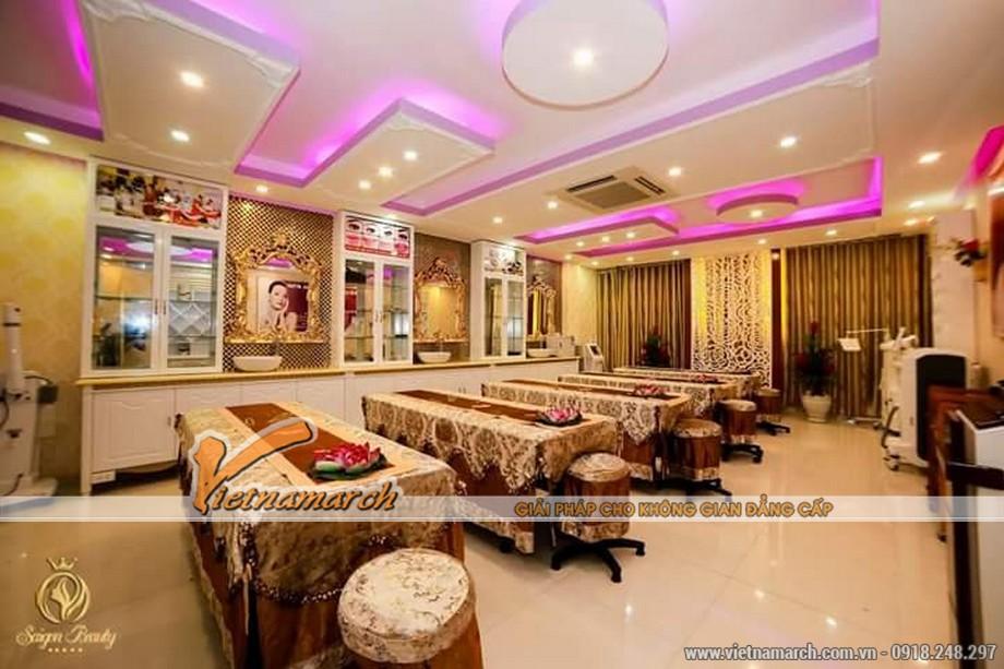 Thiết kế nội thất thẩm mỹ viện theo phong cách hiện đại từ trần nhà cho đến các đồ nội thất bên trong.