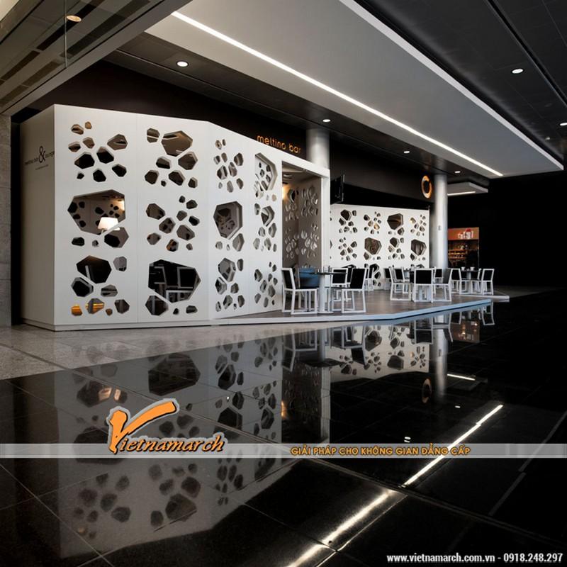 Thiết kế quán cà phê với những vách ngăn có hình thù lạ mắt