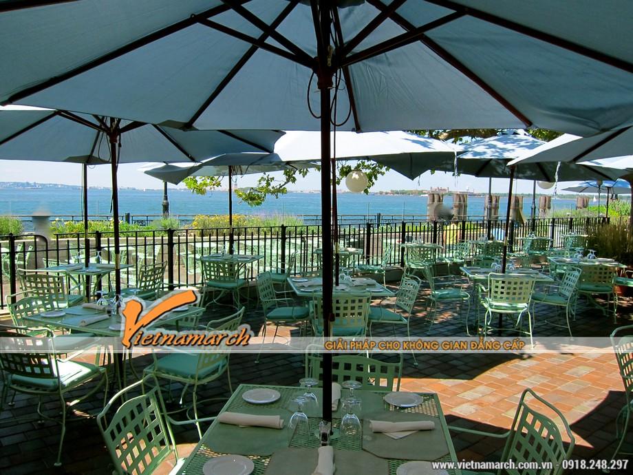 Tư vấn thiết kế nội thất quán cafe sân vườn - thiết kế mái che trong quán cà phê