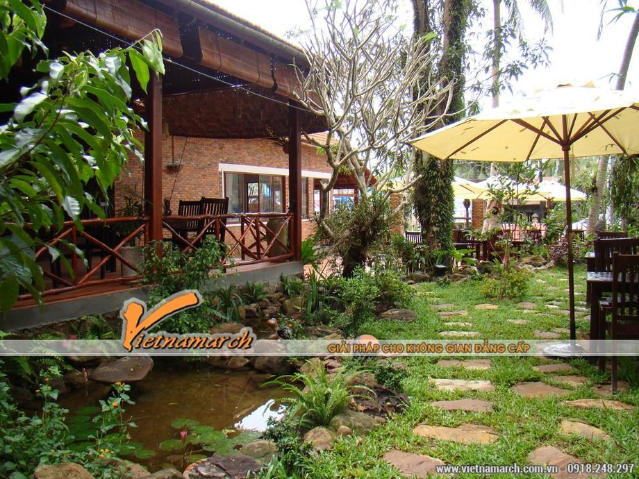 Thiết kế tiểu cảnh sân vườn trong quán cà phê