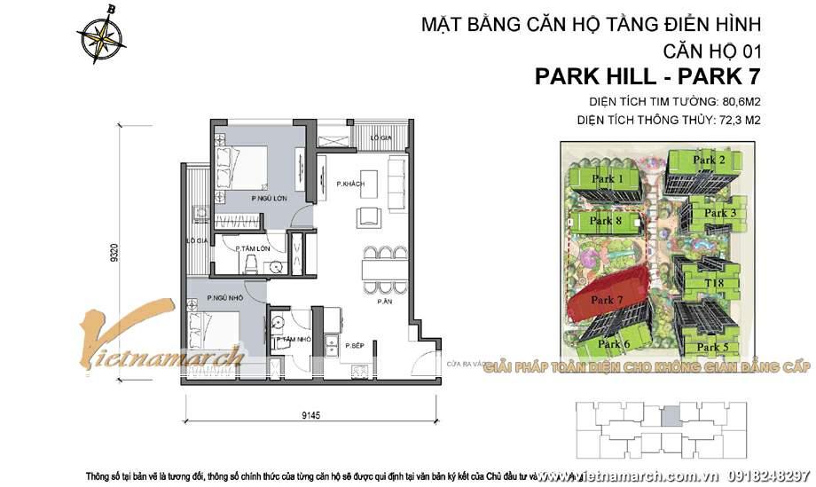 Mặt bằng hiện trạng căn P7-01 chung cư Park Hill
