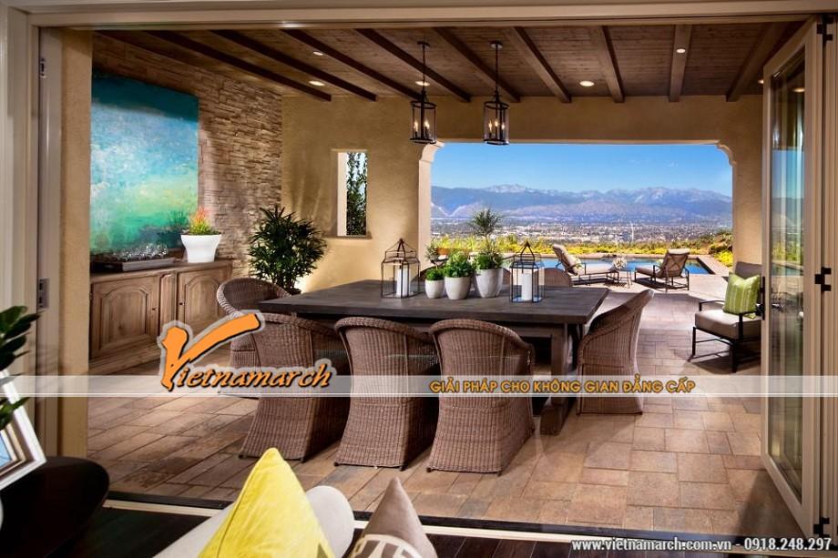 Thiết kế view nhìn tuyệt đẹp cho không gian bếp nấu, bàn ăn
