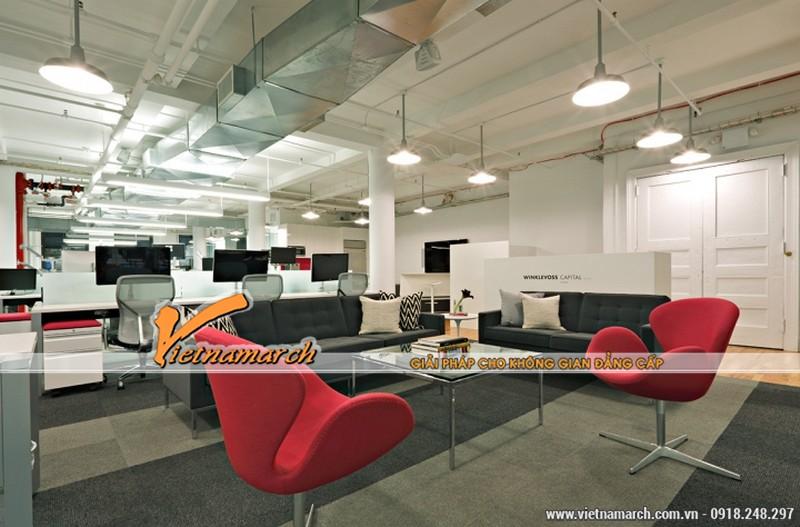 Khu làm việc của nhân viên và khu tiếp khách đẹp với những đồ nội thất hiện đại
