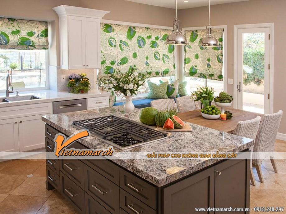 Thiết kế nhà bếp gam màu xanh tươi mát của thiên nhiên