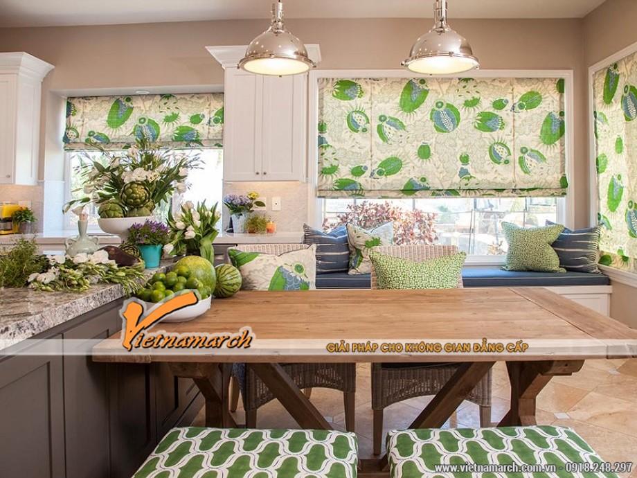 Thiết kế nhà bếp với gam xanh trong lành