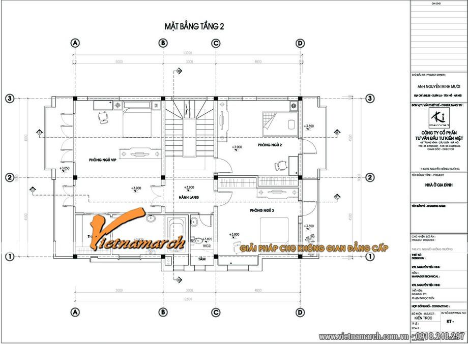 Thiết kế biệt thự 3 tầng mái thái với mặt bằng tầng 2 của nhà anh Mười