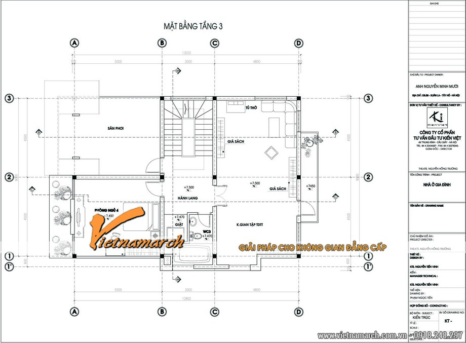 Mặt bằng tầng 3 của bản thiết kế biệt thự 3 tầng mái thái độc đáo nhà anh Mười - Hà Nội