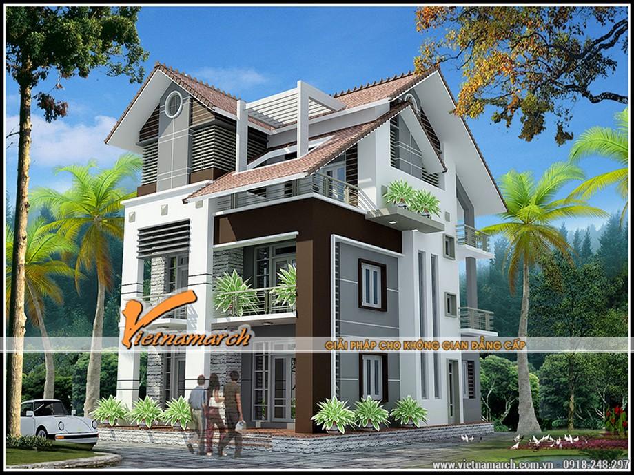 Phối cảnh tổng thể của thiết kế kiến trúc biệt thự 3 tầng của anh Mười