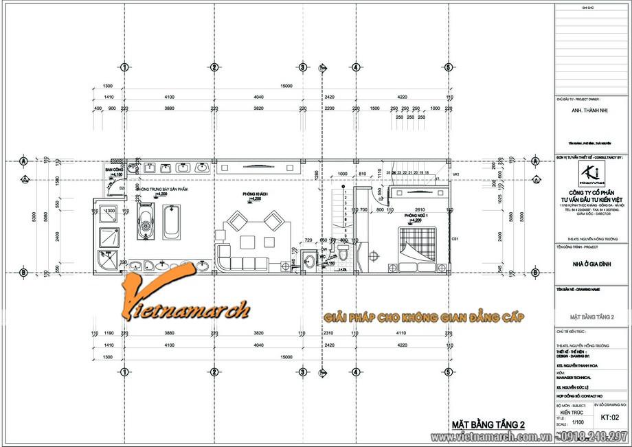 Thiết kế nhà liền kề của anh Thanh với mặt bằng tầng 2