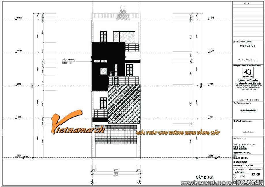 Bản vẽ tổng thể của thiết kế kiến trúc nhà lô phố 4 tầng của anh Thanh