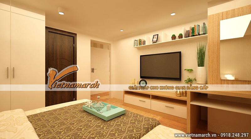 Thiết kế nội thất phòng ngủ với màu sắc hài hòa, đồ vật được bố trí phù hợp