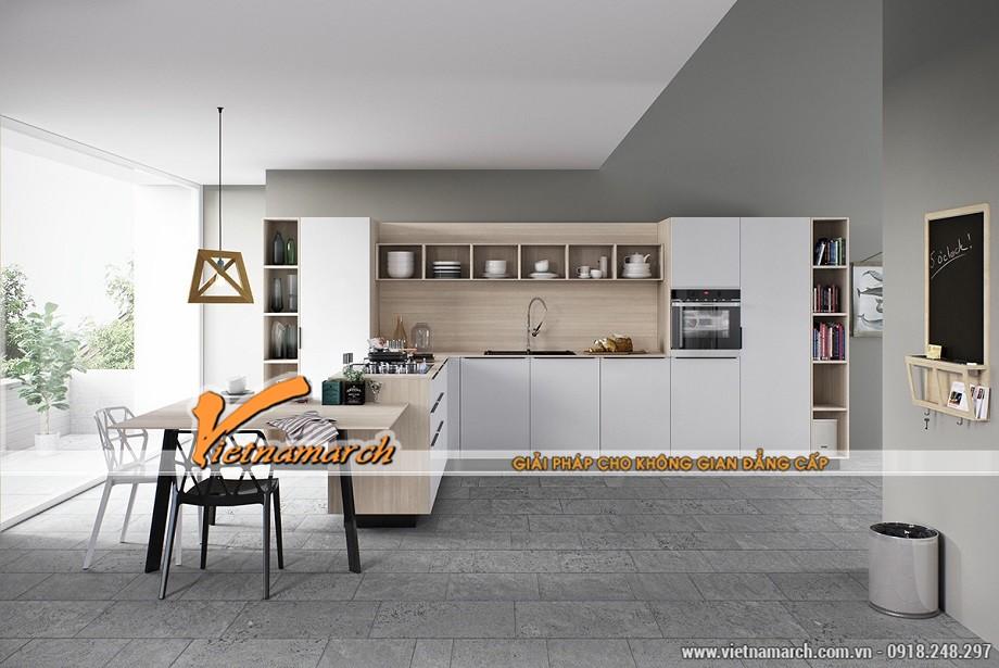 ý tưởng thiết kế nhà bếp đẹp sử dụng gỗ và tông màu trắng