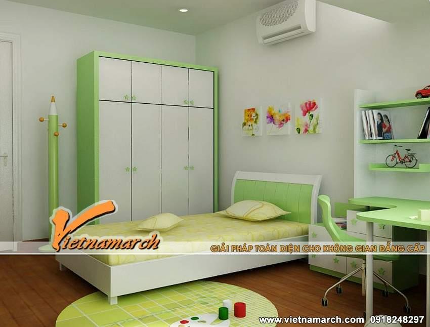 Phòng ngủ của các con được trang trí đáng yêu, dễ thương - Mẫu nội thất chung cư Times City