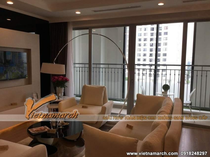 Thiết kế nội thất chung cư Park Hill, Times City với phòng khách tinh tế