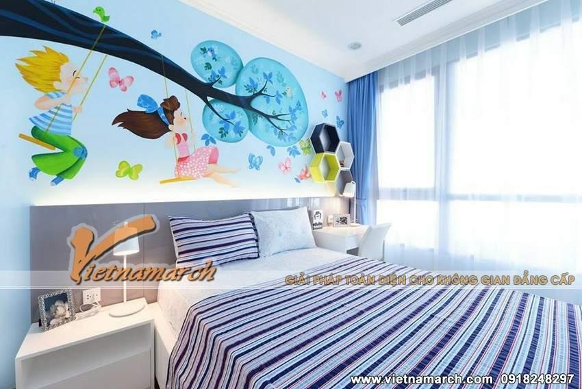Thiết kế nội thất chung cư Park Hill Times City với phòng ngủ cho trẻ ngộ nghĩnh đầy sáng tạo
