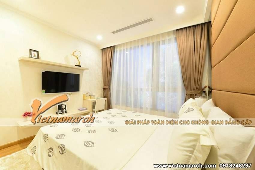 Phòng ngủ được thiết kế dịu dàng, nhẹ nhàng mang giấc ngủ ngon lành