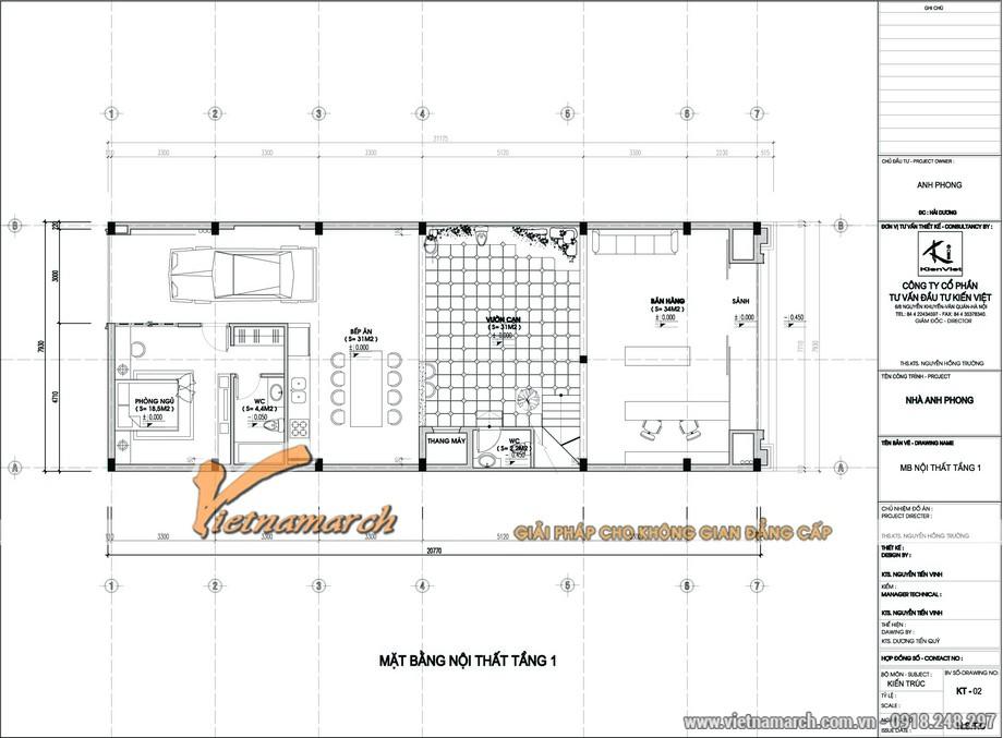 Mặt bằng nội thất tầng 1 - thiết kế nội thất nhà lô phố