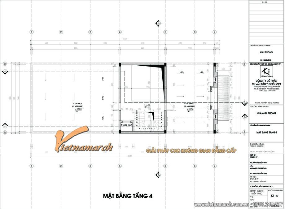 Thiết kế nhà phố 4 tầng nhà anh Phong - Hải Dương mặt bằng tầng 4