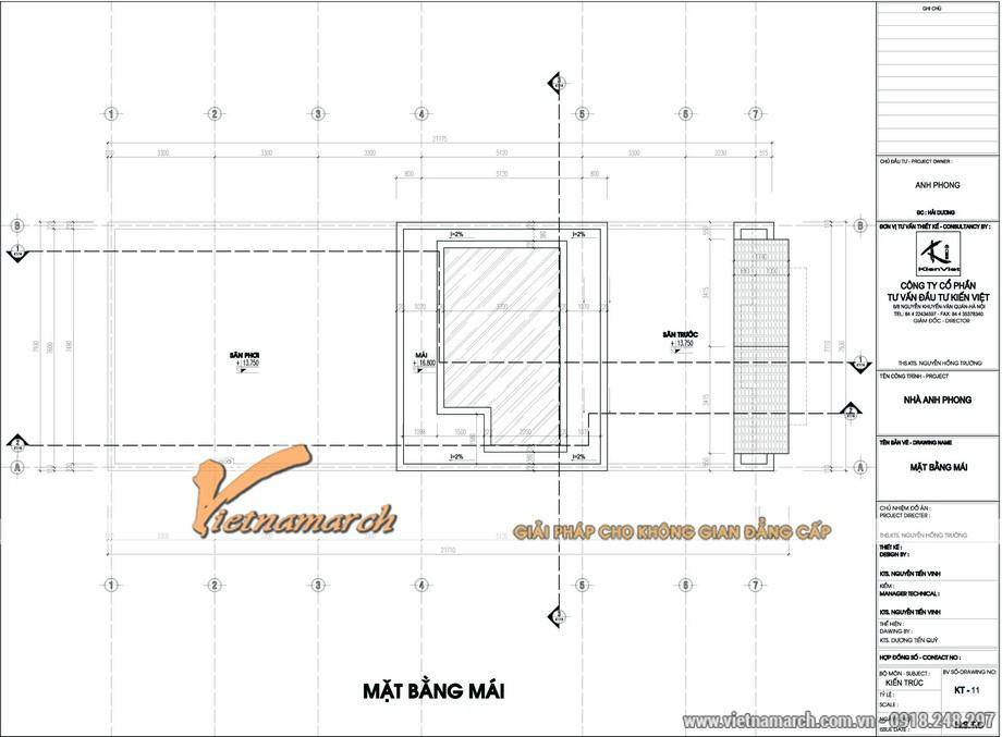 Thiết kế kiến trúc nhà phố - mặt bằng tầng mái