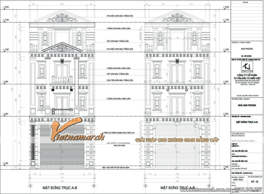 Bản vẽ thiết kế kiến trúc tổng thể của ngôi nhà phố của nhà anh Phong.