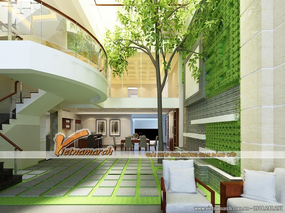 Khoảng không hiếm có trong thiết kế nhà phố được tạo ra như một giếng trời đem thiên nhiên vào ngôi nhà