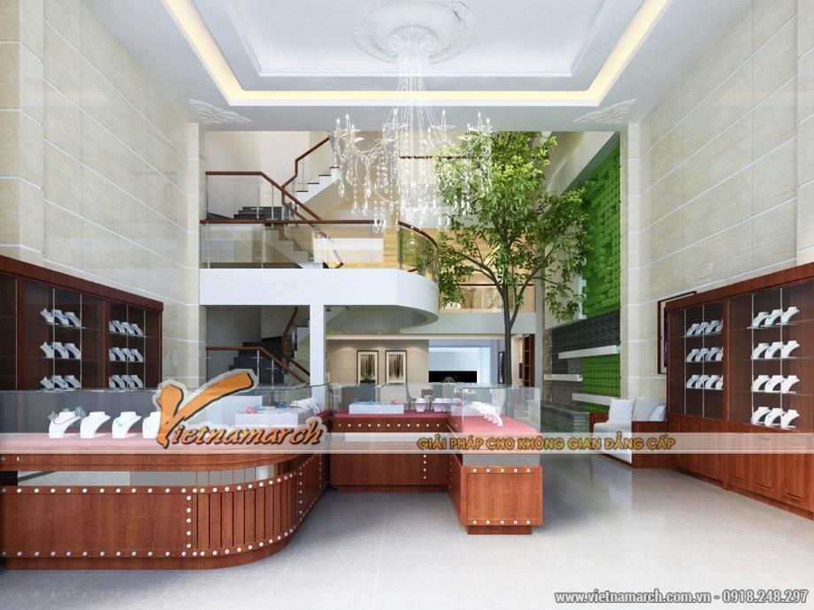 Thiết kế nội thất hiện đại trong không gian quầy nữ trang tại tầng 1