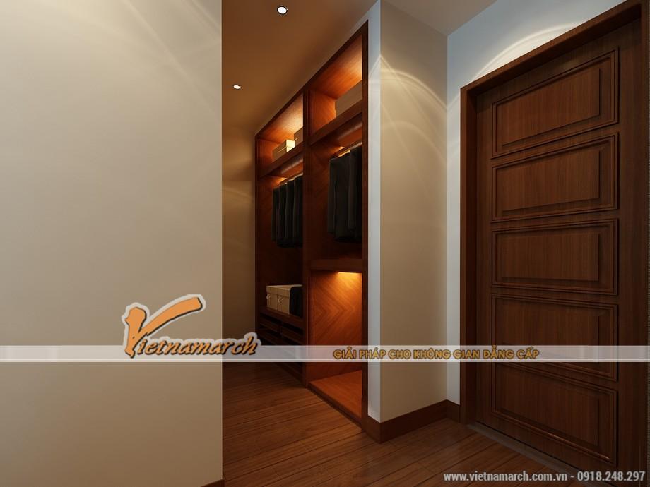 Tủ quần áo, sàn gỗ tự nhiên có màu sắc trầm mang lại sự ấm cúng cho phòng ngủ