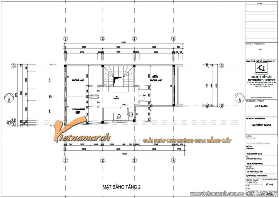 Thiết kế nhà mặt phố 3 tầng của anh Đức - Mặt bằng tầng 2