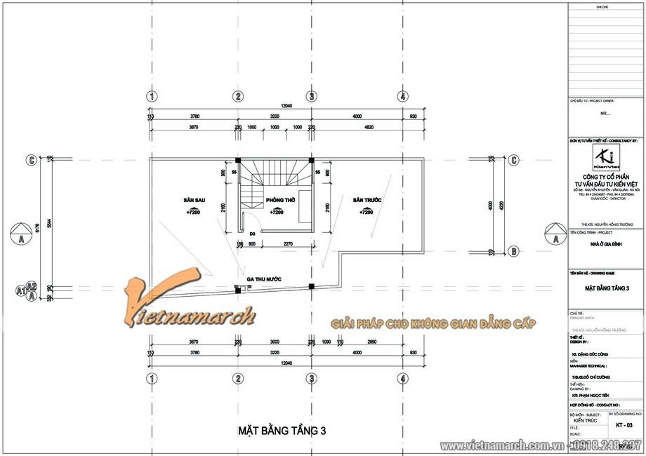 Mặt bằng tầng 3 của phương án thiết kế nhà phố của anh Đức -Hà Nội