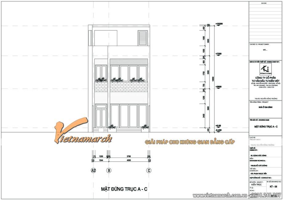 Bản vẽ thiết kế kiến trúc tổng thể của nhà phố 3 tầng