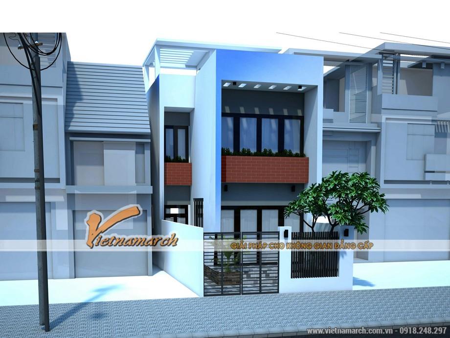 Bản phối cảnh tổng thể thiết kế nhà phố 3 tầng của anh Đức -Hà Nội