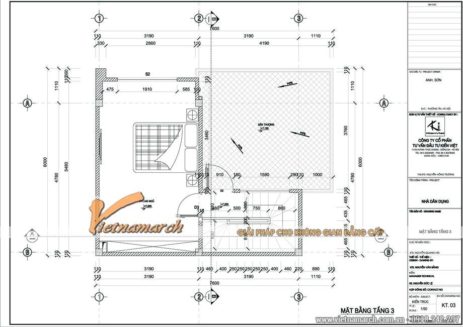 Mặt bằng tầng 3 với 1 phòng ngủ lớn và sân thượng - thiết kế nhà lô phố nhà anh Sơn - Thường Tín - Hà Nội