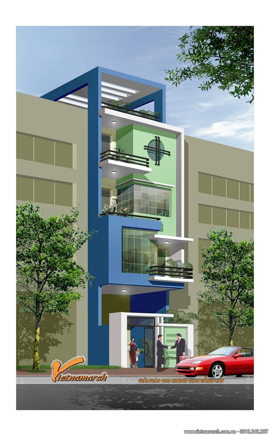 Phối cảnh tổng thể thiết kế nhà phố của ngôi nhà anh Hải tại Hải Phòng