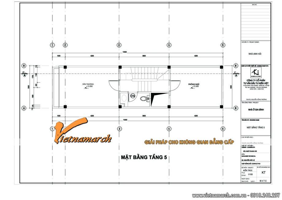 Thiết kế kiến trúc nhà phố mặt bằng tầng 5