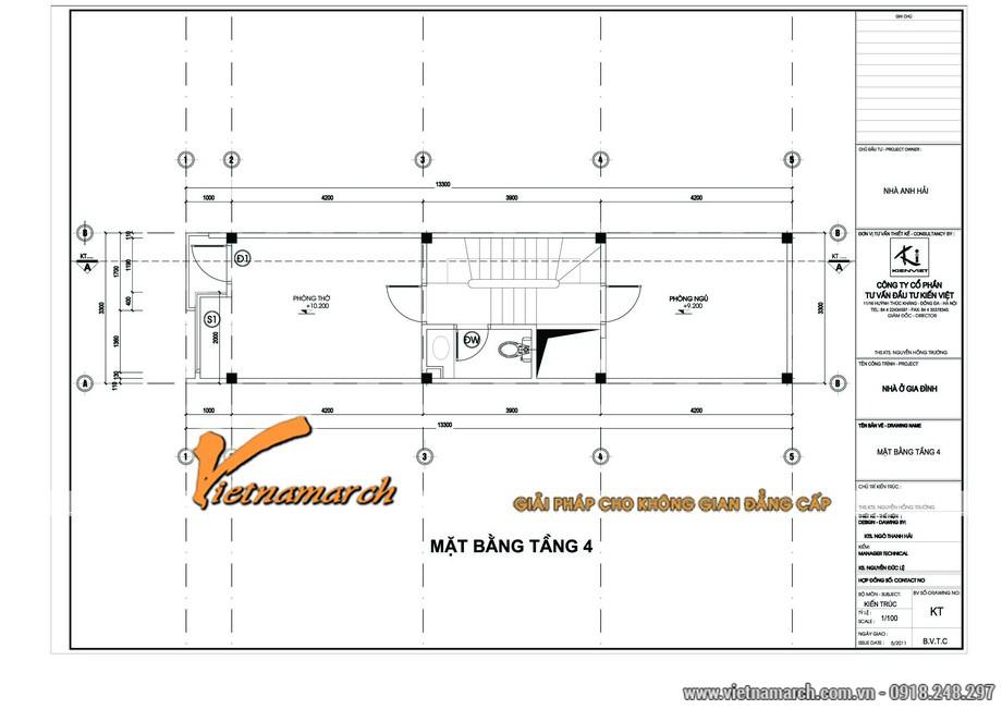 Thiết kế nội thất nhà lô phố - mặt bằng tầng 4