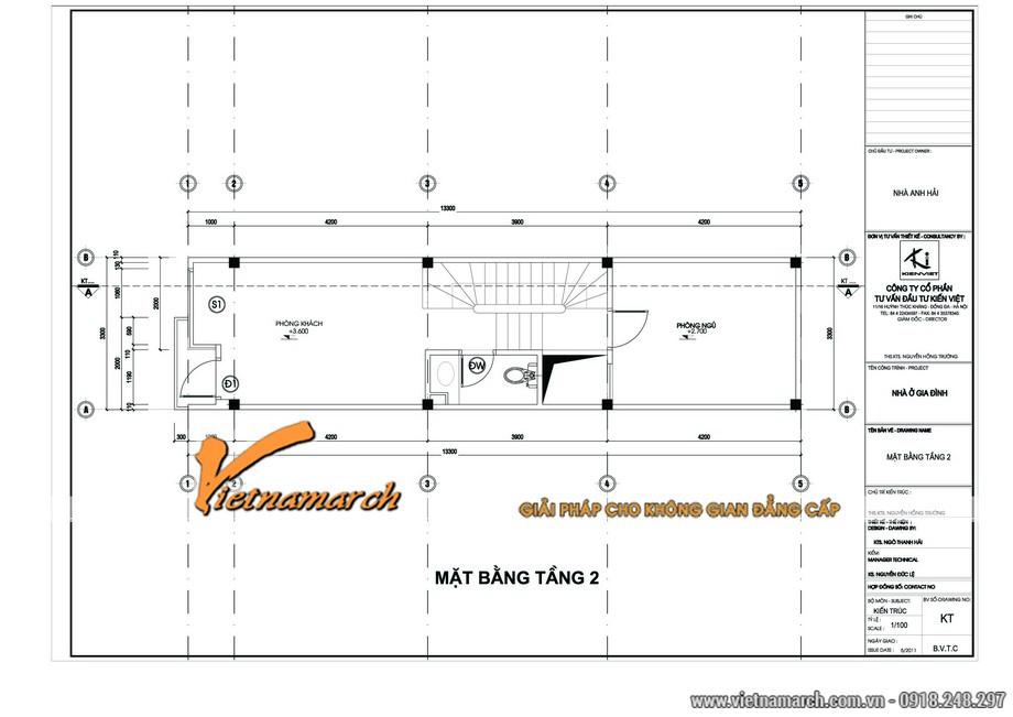 Mặt bằng thiết kế nhà lô phố tầng 2 của ngôi nhà anh Hải