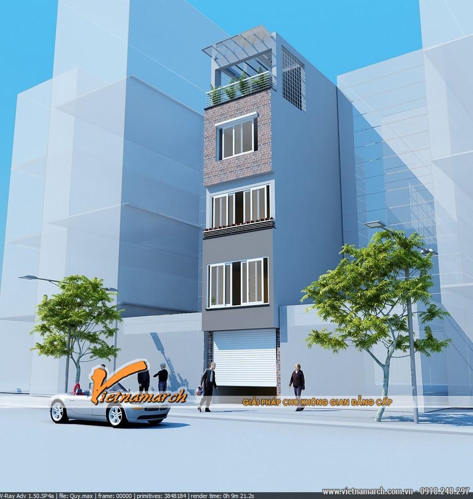 Bản phối cảnh tổng thế thiết kế nhà phố 5 tầng của anh Hiếu