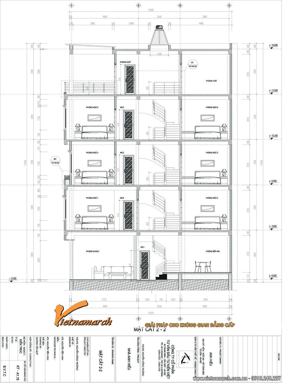 Mặt cắt 2-2 thể hiện tổng thể bản thiết kế nhà phố 5 tầng của anh Hiếu ở Từ Liêm,Hà Nội