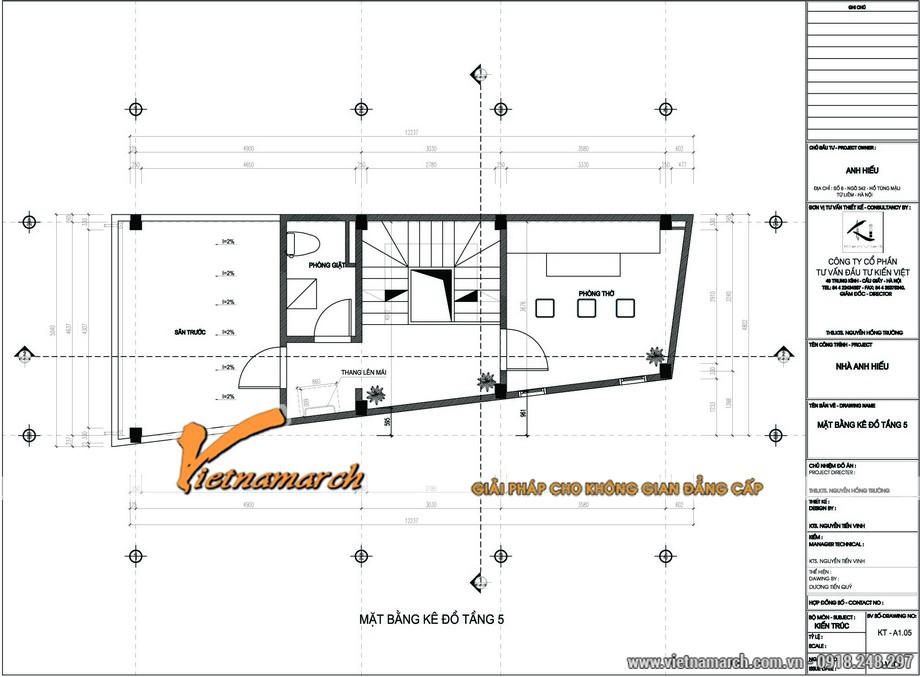 Bản thiết kế nhà lô phố 5 của anh Hiếu ở Từ Liêm, Hà Nội