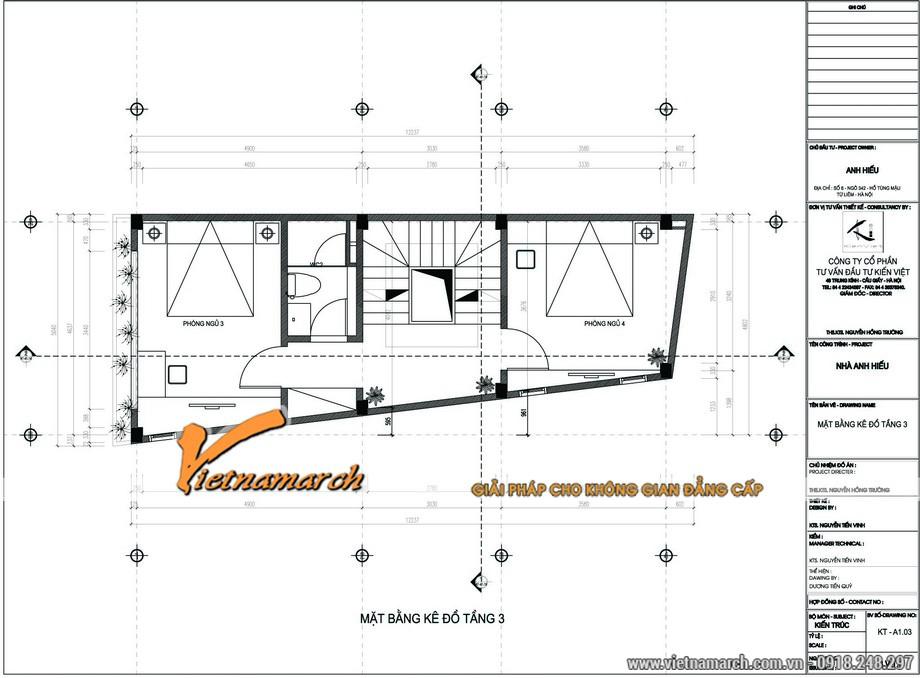 Mặt bằng tầng 3 của bản thiết kế nhà phố 5 tầng của anh Hiếu ở Từ Liêm, Hà Nội