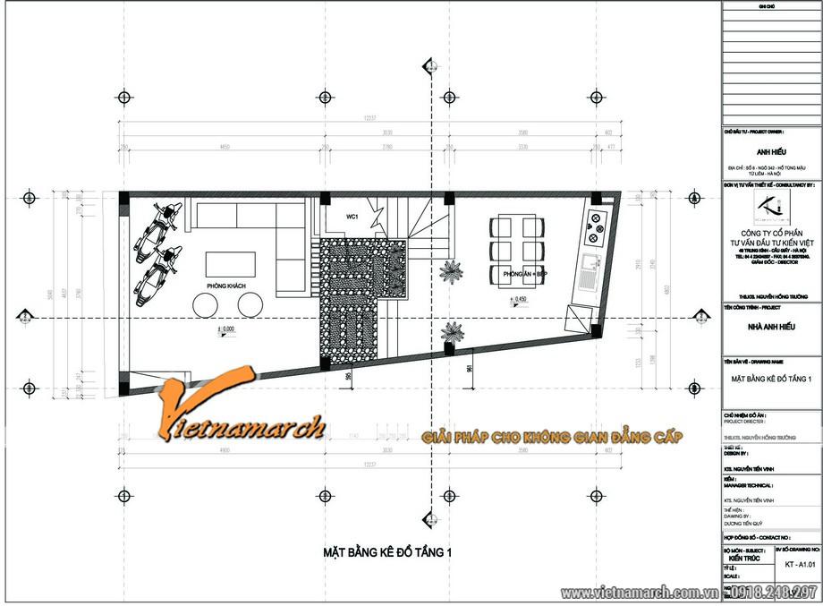Mặt bằng tầng 1 của thiết kế kiến trúc nhà phố 5 tầng