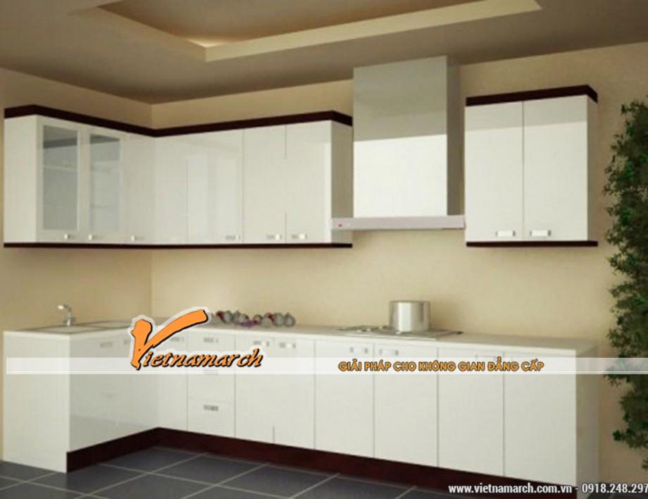 Tủ bếp chữ L màu trắng với thiết kế hiện đại