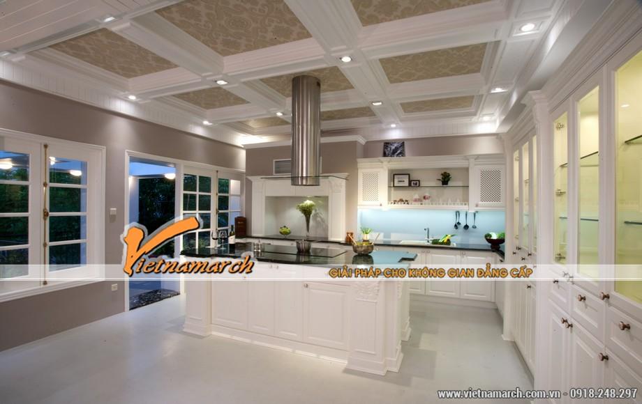 Thiết kế nội thất bếp tân cổ điển màu sắc hài hòa