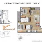2 phương án tối ưu cho thiết kế nội thất chung cư Park Hill Times City căn hộ Park 7-01 (P7-08, P7-09, P7-16)