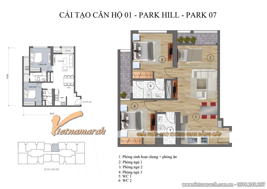 Mặt bằng thiết kế cải tạo căn hộ 01 park 07 phương án 1