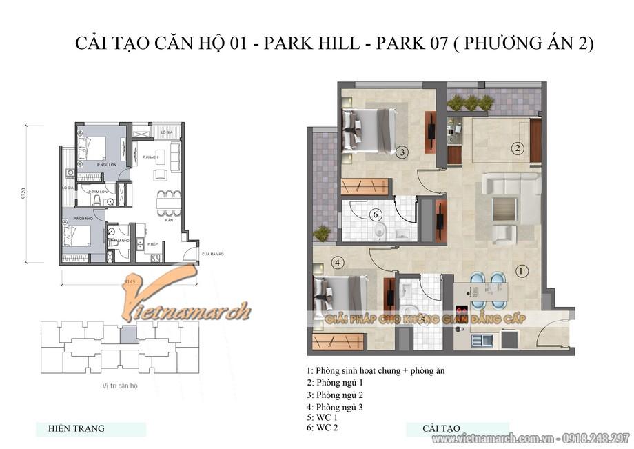 Mặt bằng thiết kế, cải tạo căn hộ 01 park 7 chung cư Park Hill Times City phương án 2