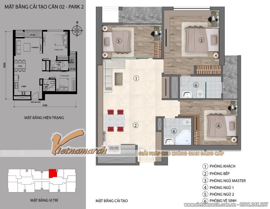 Phương án cải tạo căn hộ dưới 100m2 chung cư Park hill Times City với 3 phòng ngủ